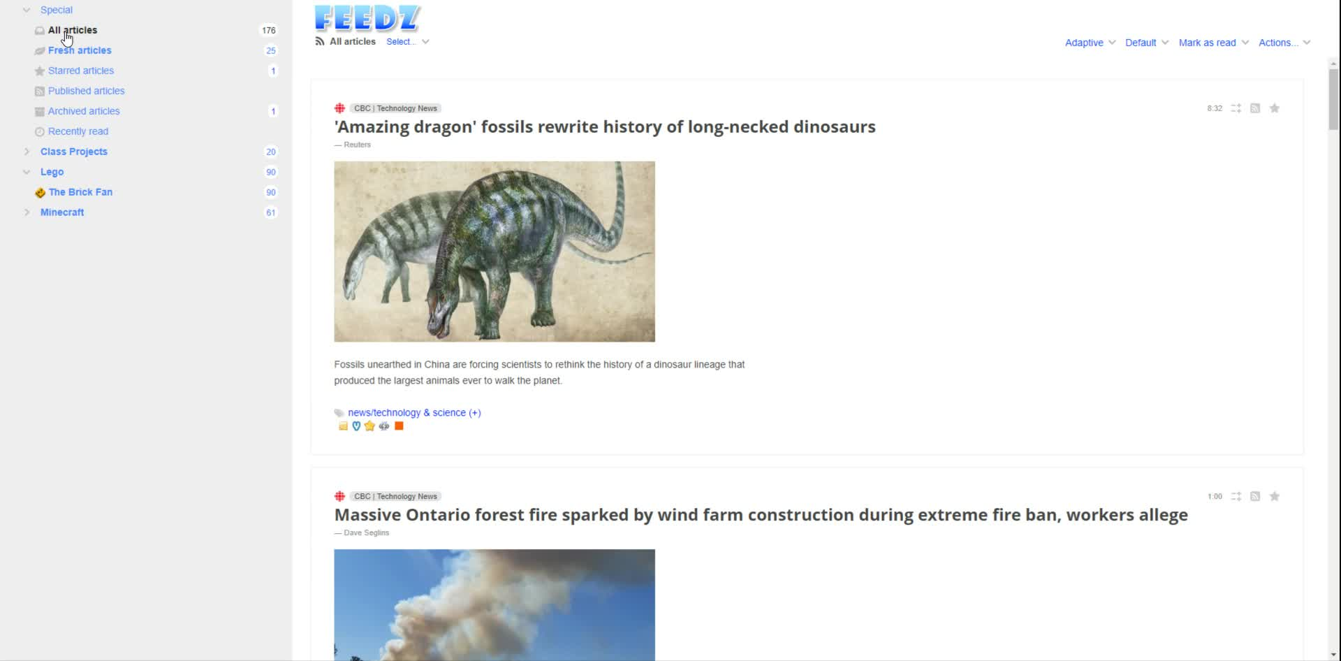 Reading RSS feeds in Feedz