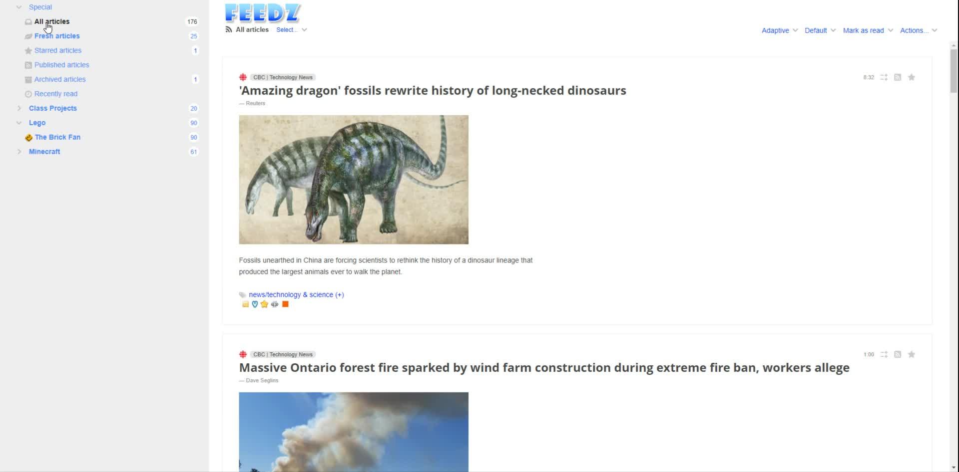 Reading RSS feeds in Feedz
