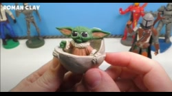 MANDALORIAN and BABY YODA (GROGU) with Clay